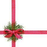 圣诞节桃红色丝带和弓与花圈从金钟柏枝杈 免版税库存照片