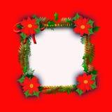 圣诞节框架一品红 免版税库存图片