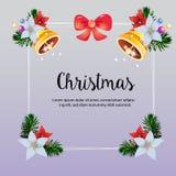 圣诞节框架五颜六色的响铃装饰传染媒介 皇族释放例证