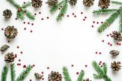 圣诞节框架由冷杉分支、锥体和光亮的星制成 准备新年 免版税库存照片