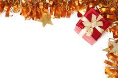 圣诞节框架礼品红色闪亮金属片 库存图片