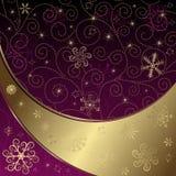 圣诞节框架金子紫色 免版税图库摄影