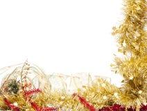 圣诞节框架金黄光亮的闪亮金属片 图库摄影