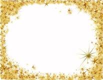 圣诞节框架金黄星形 免版税库存图片