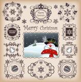圣诞节框架& Boaders传染媒介 免版税图库摄影