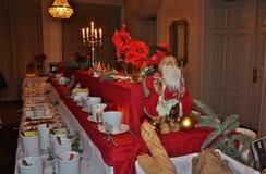 圣诞节桌在Stadshotelllet的节日大厅里在LuleÃ¥ 免版税库存图片