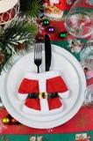 圣诞节桌的片段 免版税库存照片