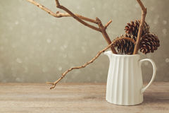 圣诞节桌装饰与水罐和冬天分支 库存图片