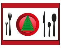 圣诞节桌设置利器 免版税库存图片