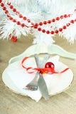 圣诞节桌设置 库存图片
