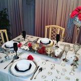 圣诞节桌设计 免版税库存图片