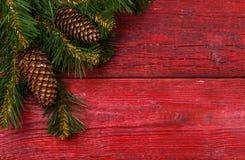 圣诞节桌餐位餐具-与圣诞节杉木的红色桌分支 免版税图库摄影