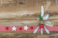 圣诞节桌餐位餐具 免版税库存图片