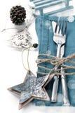 圣诞节桌餐位餐具 免版税库存照片