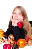 圣诞节梦想的女孩 免版税库存图片