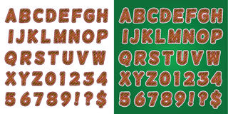 圣诞节棒棒糖绿色字母表信件和数字 免版税库存图片