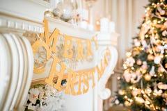 圣诞节森林上了凸边早晨多雪的线索宽冬天 与一个白色壁炉的经典公寓 免版税图库摄影