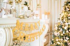 圣诞节森林上了凸边早晨多雪的线索宽冬天 与一个白色壁炉的经典公寓 库存照片