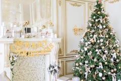 圣诞节森林上了凸边早晨多雪的线索宽冬天 与一个白色壁炉的经典公寓 图库摄影