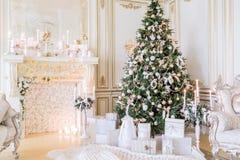 圣诞节森林上了凸边早晨多雪的线索宽冬天 与一个白色壁炉的经典公寓 免版税库存照片