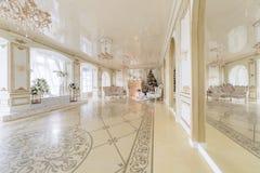 圣诞节森林上了凸边早晨多雪的线索宽冬天 与一个白色壁炉的豪华经典公寓 免版税图库摄影