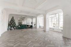 圣诞节森林上了凸边早晨多雪的线索宽冬天 与装饰的圣诞树的经典豪华公寓 居住的大厅大镜子,绿色沙发 库存照片