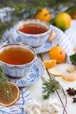 圣诞节森林上了凸边早晨多雪的线索宽冬天 中国黏土托起木饮用的糖表茶的茶壶二 一幅美丽的静物画用蜜桔和两个杯子热的茶 免版税图库摄影