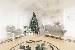 圣诞节森林上了凸边早晨多雪的线索宽冬天 与一个白色壁炉,装饰的树,明亮的沙发,大窗口的经典公寓 图库摄影