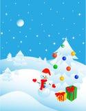 圣诞节森林明信片冬天 免版税图库摄影