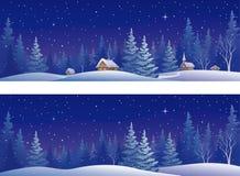 圣诞节森林横幅 图库摄影