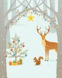 圣诞节森林 免版税库存图片
