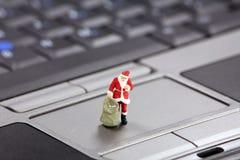 圣诞节概念在线购物 免版税库存照片