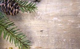 圣诞节概念新年度 与锥体的杉树分支在木板,顶视图,平的位置的焦点外面 库存图片