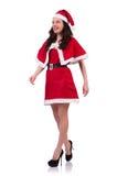 圣诞节概念的雪女孩圣诞老人被隔绝 免版税库存照片