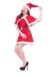 圣诞节概念的雪女孩圣诞老人 库存照片