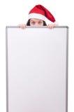 圣诞节概念的雪女孩圣诞老人 免版税库存照片