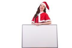 圣诞节概念的雪女孩圣诞老人 免版税库存图片