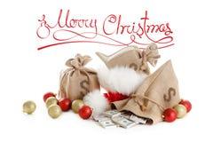 圣诞节概念礼物 概念查出的货币白色 库存照片