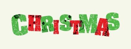 圣诞节概念被盖印的词艺术例证 库存图片