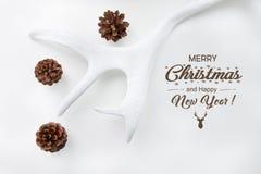 圣诞节概念 白色绘了垫铁,在白色背景的锥体 顶视图 另外的卡片形式节假日 免版税图库摄影
