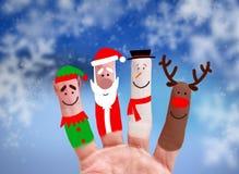 圣诞节概念-被绘的手指 库存图片