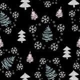 圣诞节模式无缝的结构树 向量例证