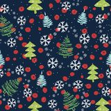 圣诞节模式无缝的结构树 库存例证