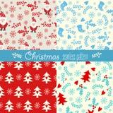 圣诞节模式无缝的集 库存图片