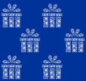 圣诞节模式 在蓝色的白色礼物 免版税库存图片