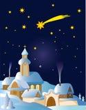 圣诞节横向冬天 免版税库存照片