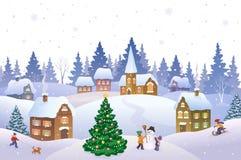 圣诞节横向魔术晚上 免版税图库摄影