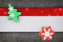 圣诞节横幅用曲奇饼 免版税库存照片
