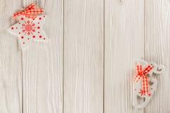 圣诞节横幅,在一个白色背景、驯鹿和星 您的文本的地方 库存照片