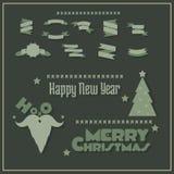 圣诞节横幅,标志,在上写字 免版税库存照片